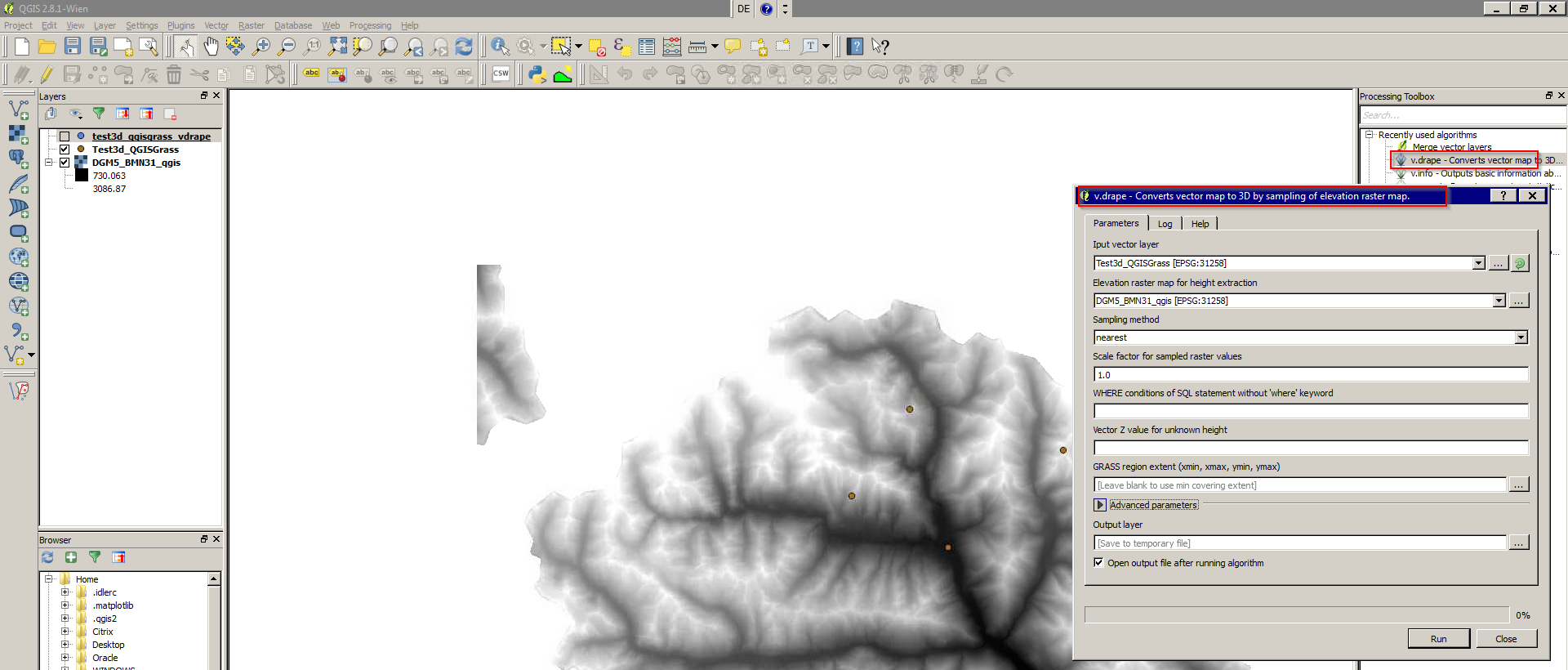 """3D-features"""" with QGIS 2 8 – derive elevation from DEM and write"""