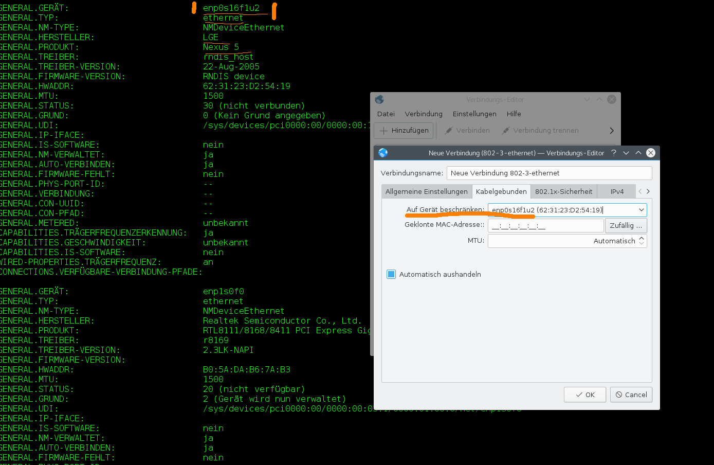 Fedora 22 / KDE USB-Tethering with Mobile (Android