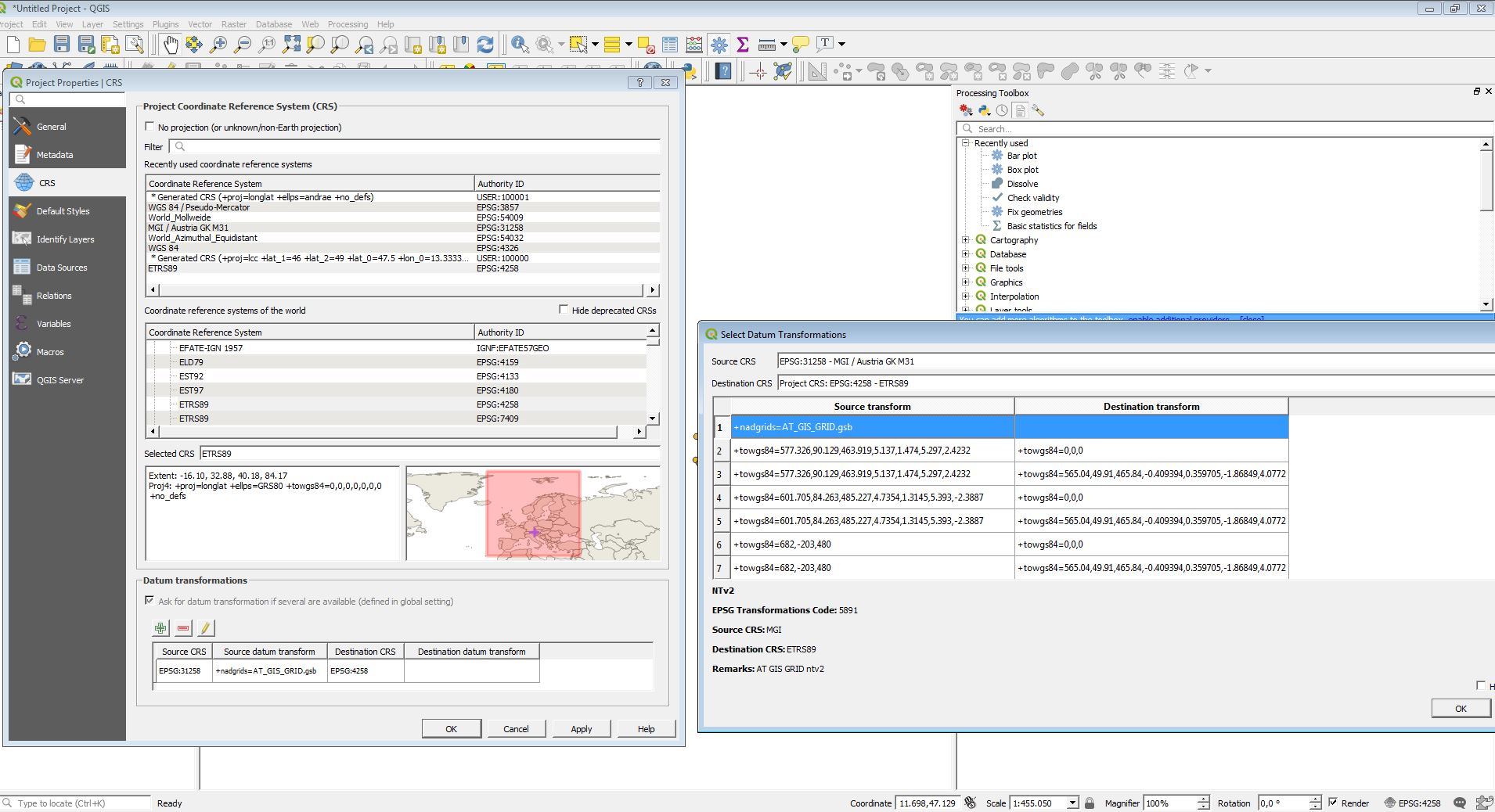 Update: AT_GIS_GRID Transformation ArcGIS Pro 2 2 and QGIS 3 2